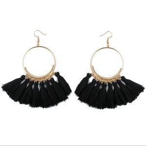 Jewelry - NEW COLOR! Long Tassel Fringe Boho Earrings BLACK